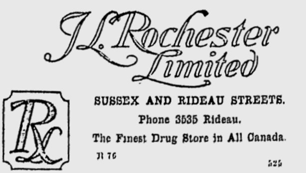 Advertisement for Rochester Drug Store, Ottawa, Canada
