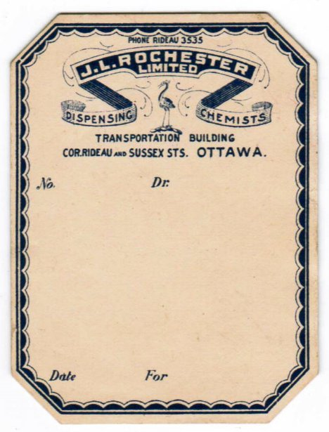 Prescription for Rochester Drug Store, Ottawa, Canada