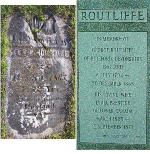 Grave marker of George Routliffe and Lydia Prentice