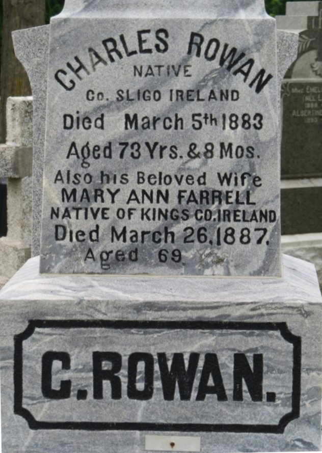 Charles Rowan, tombstone at Notre Dame Cemetery, Ottawa, Canada