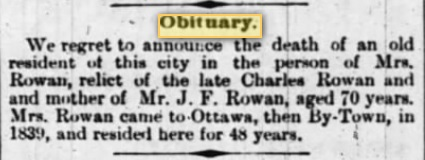 Obituary for Mrs. Charles Rowan
