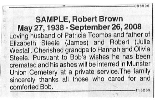 Obituary of Mr. Robert Sample