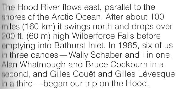 Bill Mason, Wally Schaber and friends canoe the Hood River in the North West Territories in 1985