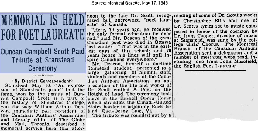 Montreal Gazette, May 17, 1948, Memorial for poet Duncan Campbell Scott