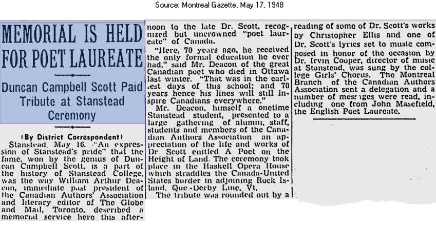 Montreal Gazette, May 17, 1948, Memorial for poet Duncan Campbell Scott