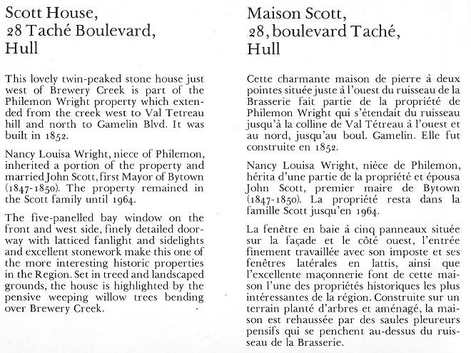 John Scott House, First Mayor of Bytown, text