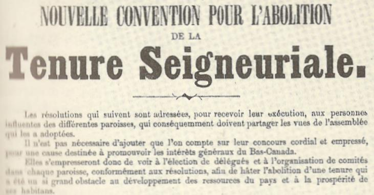 The end of the seigneurial system in Quebec, 1850's