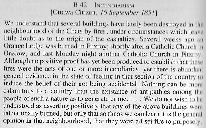 Orange and Green Violence in the Ottawa area in 1851