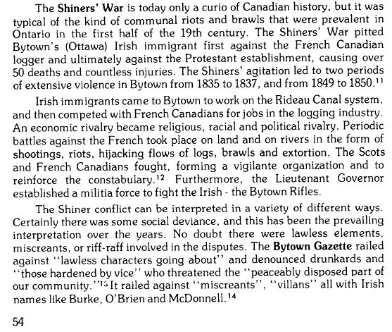Article about the Shiners Violence in the Ottawa Valley, 1830's