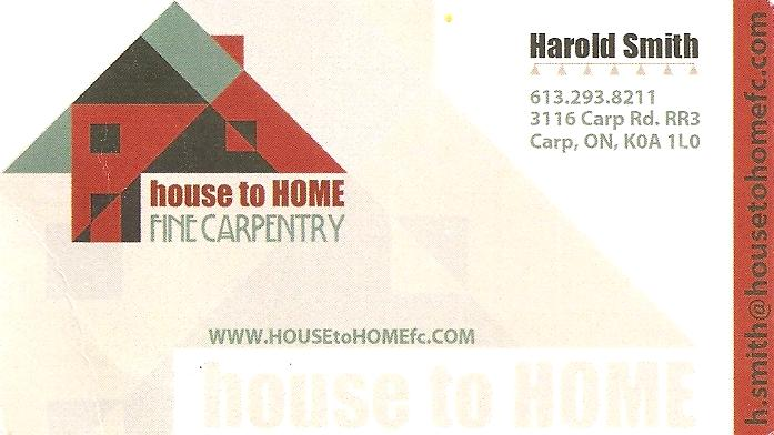 Harold Smith, Fine Carpentry, Ottawa area of Ontario