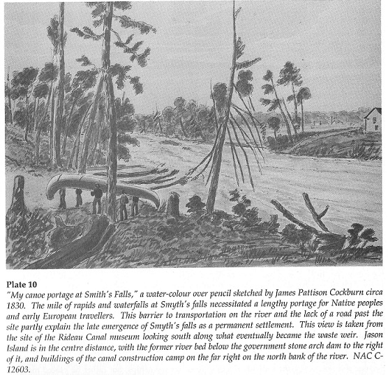 Painting by James Pattison Cockburn: My Canoe Portage at Smiths Falls, circa 1830