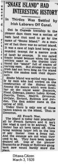 Article in Ottawa Citizen, March 3, 1928, Snake Island,Osgoode Township, Ontario, Canada
