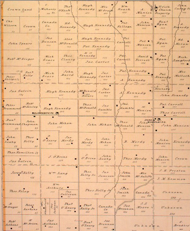 Huntley Township, Ontario, Canada, map dated 1879