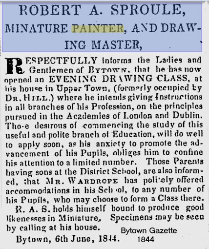 Robert Sproule opens a painting school in Bytown, Ottawa, in 1844