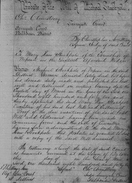 Will / Estate of Michael Stackpole in 1842, page 1