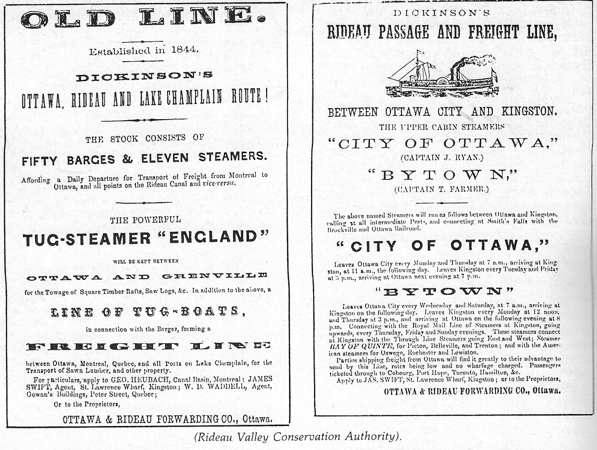 Steamboat notices, for Rideau, by Dickinsons></CENTER>  <hr>  Picture Source: <U>Steamboating on the Rideau Canal</U> by Mike Nelles, August 2007, ISSN 0823-5457, Bytown Pamphlet Series, No. 71. Keywords: Ottawa Forwarding Company.  <CENTER><IMG SRC=