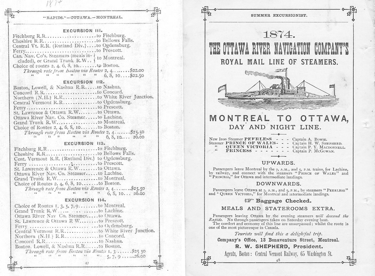 Steam Boat Tourism on the Ottawa River, 1874