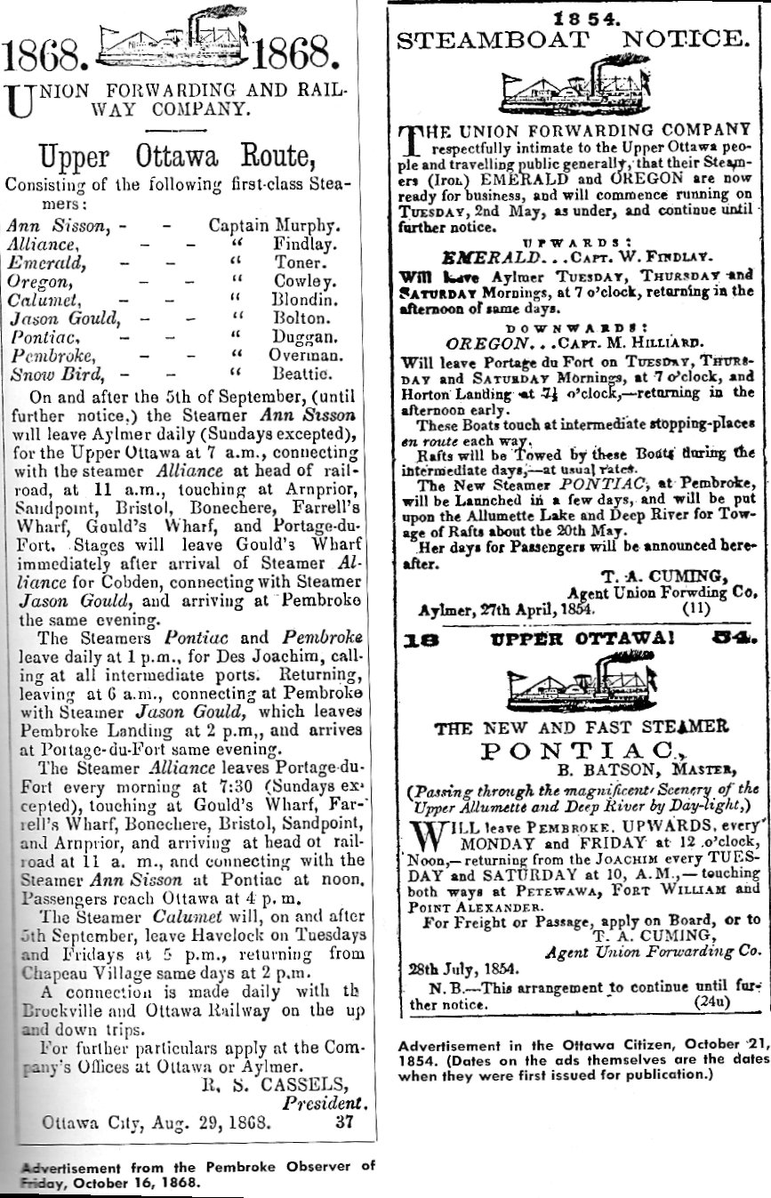 Advertisements for Steam Boat Transportation on the Ottawa River, Canada, in 1854 and 1868
