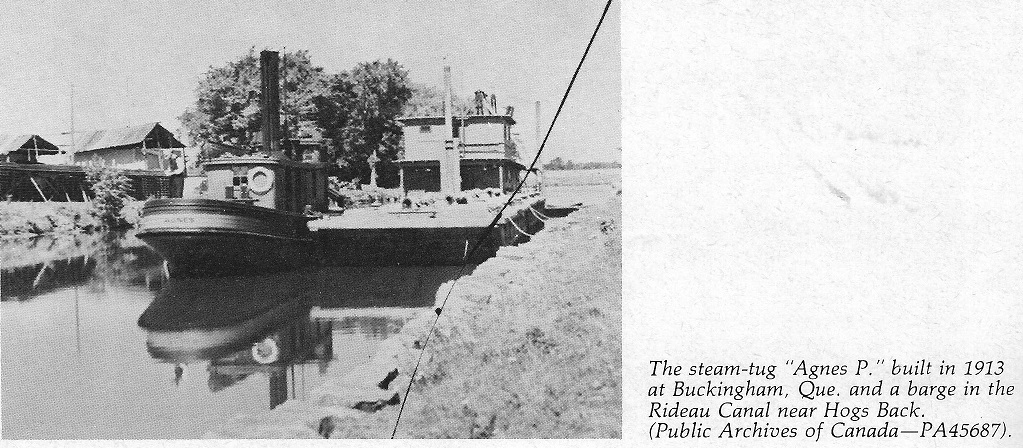The steamship Agnes P and a Barge at Carleton University