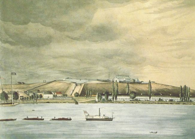 Fort Henry, Kingston; 1839 - Steamboat with Durham boats