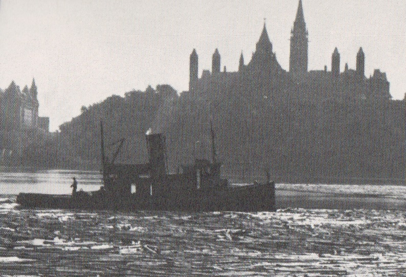 Logging boat behind the Parliament Buildings in Ottawa