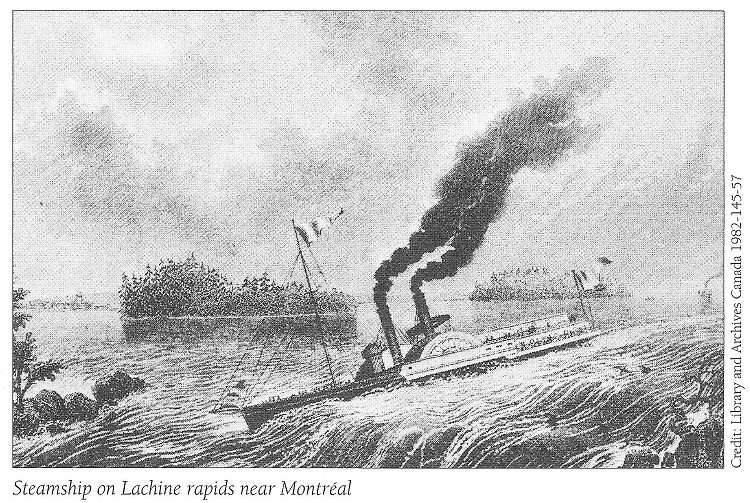 Steam Boat on Lachine Canal</A></CENTER></CENTER><HR>  October 19, 2009:  Hi Al:  I've transcribed the 1847 Diary of Hugh Falls, a Provincial Land Surveyor with his survey of Bennett's & Bissett's creeks.  He refers to a few men he hired as well as a few he encountered during the survey.  I thought these names might be of interest to anyone researching these families.  Feel free to post any of the diary that might be of interest.  I'm not certain that I've transcribed all of the place names correctly as I'm not too familiar with the geography of the area.  Perhaps you can correct any mistakes I've made if you notice any.  I was surprised that it only took Hugh Falls one day to travel from Bytown to Montreal-thought it would take longer than that. I think he was paid 114 pounds for this survey.  Linda Falls<HR SIZE=1>October 22, 2009:  <CENTER>Photo Source: The Upper Ottawa Valley - A Glimpse of History, page 31. The Steamboat <I>E.H. Bronson</I> was named after Erskine Bronson (Bronson Avenue in downtown Ottawa)  <IMG SRC=