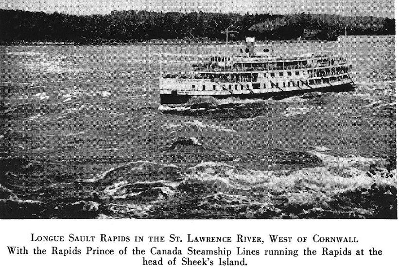 Steamer Prince in Long Sault Rapids near Cornwall