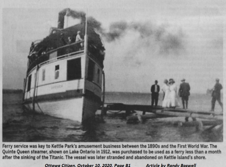 Steamer Quinte Queen used as ferry to Kettle Island