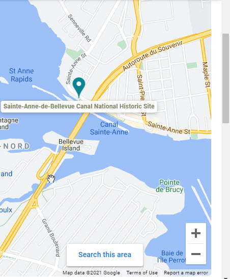Google Map of Ste Anne Canal and Lock