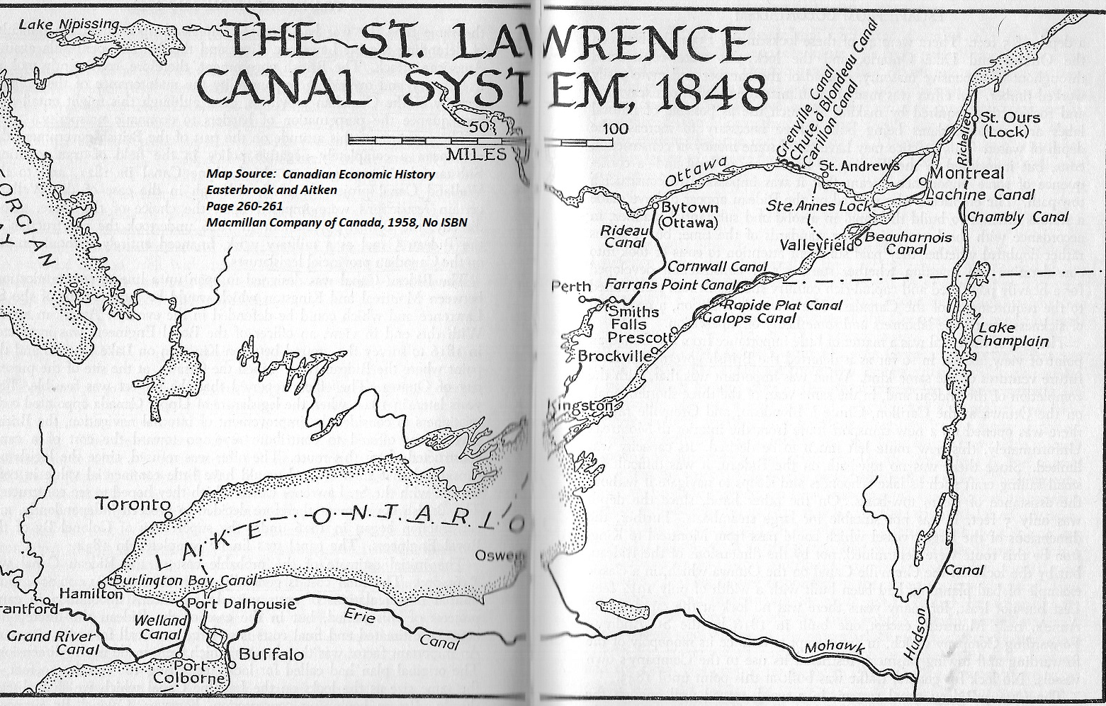 Map of St. Lawrence Canal, 1848