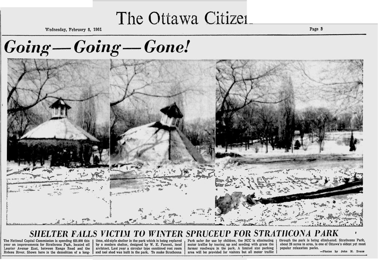 Strathcona Park Gazebo torn down in 1961, Ottawa, Canada