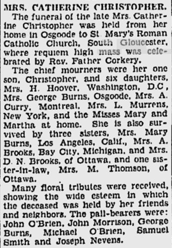 Obituary for Catherine Sullivan CHRISTOPHER, May 9, 1928, Ottawa Citizen CHRISTOPHER