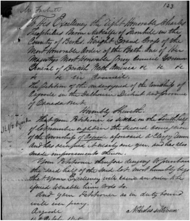 Land Grant to Nicholas Sullivan, 1845
