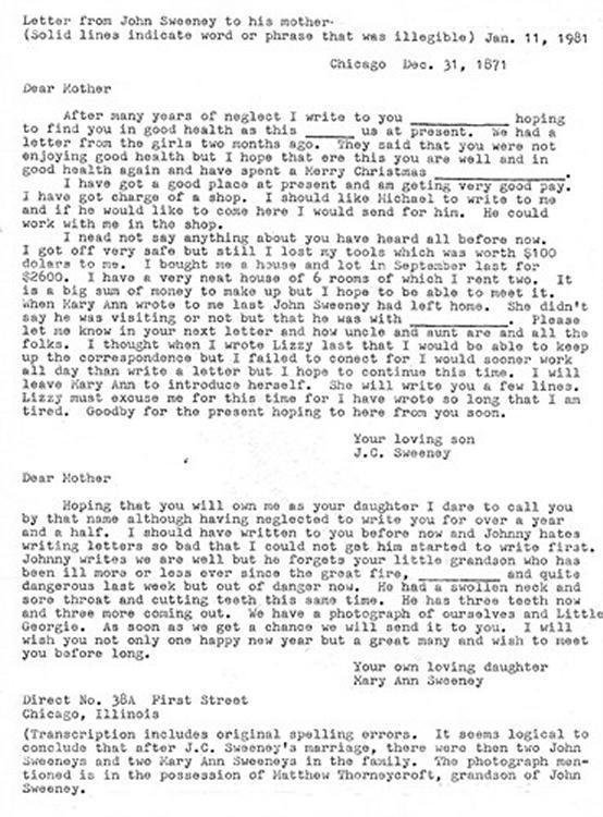 Sweeney Letter