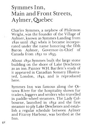 Symmes Hotel, Aylmer, Quebec Canada - Text
