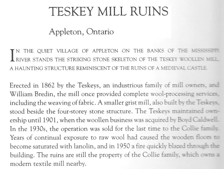 Teskey Textile Mill at Appleton, Ontario, Canada