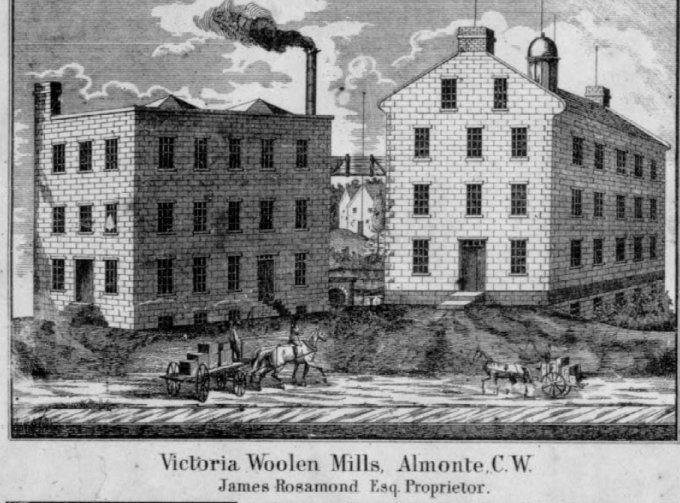 Rosamond Textile Mill in Almonte, 1863