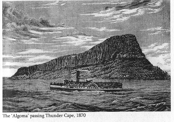 Steamer Algoma Passing Thunder Cape, Lake Superior, 1870