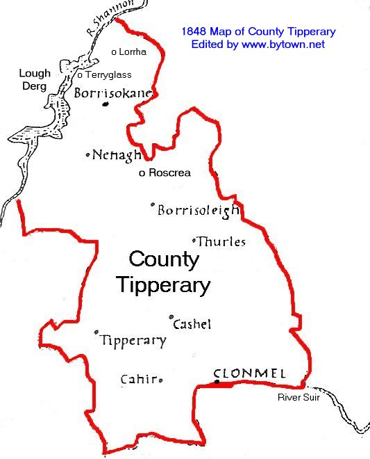 Map of County Tipperary, Ireland in 1848