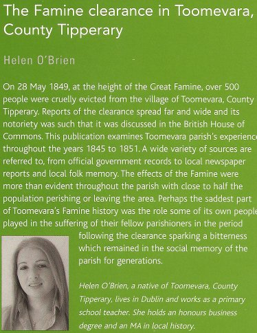 Book, The Famine clearance in Toomevara, County Tipperary, Ireland by Helen O'Brien