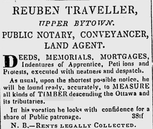 Advertisement for Reuben Traveller, Ottawa / Bytown, 1844