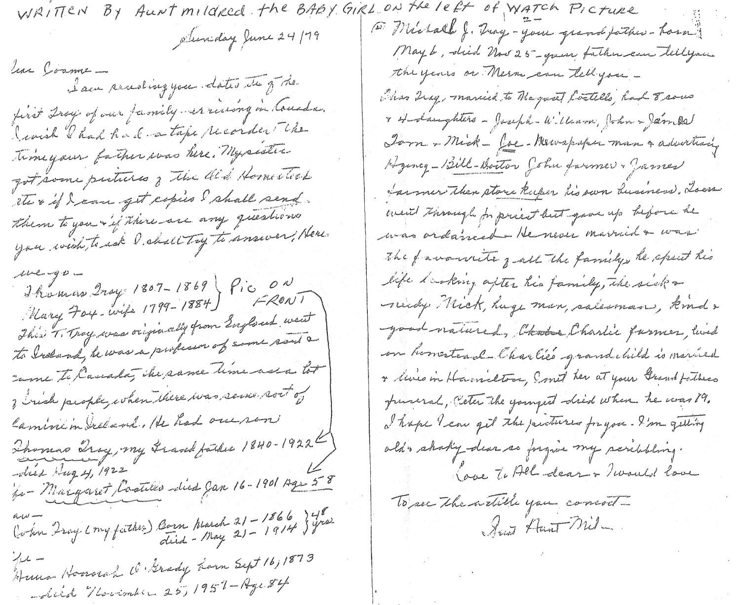 Troy Family Letter, Nepean Township, Ottawa, Ontario, Canada
