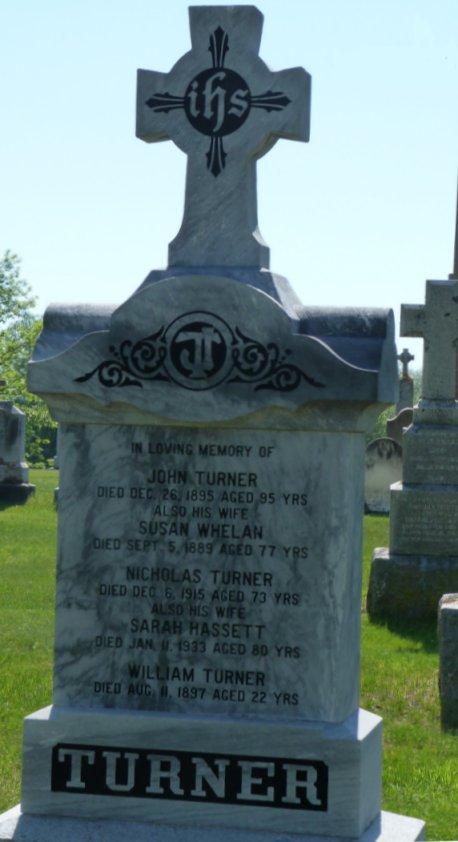 John Turner and Susan Whelan Grave Marker, Enniskerry (Ottawa), Ontario, Canada