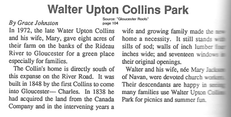 Walter Upton Collins Park -- Source: Gloucester Roots