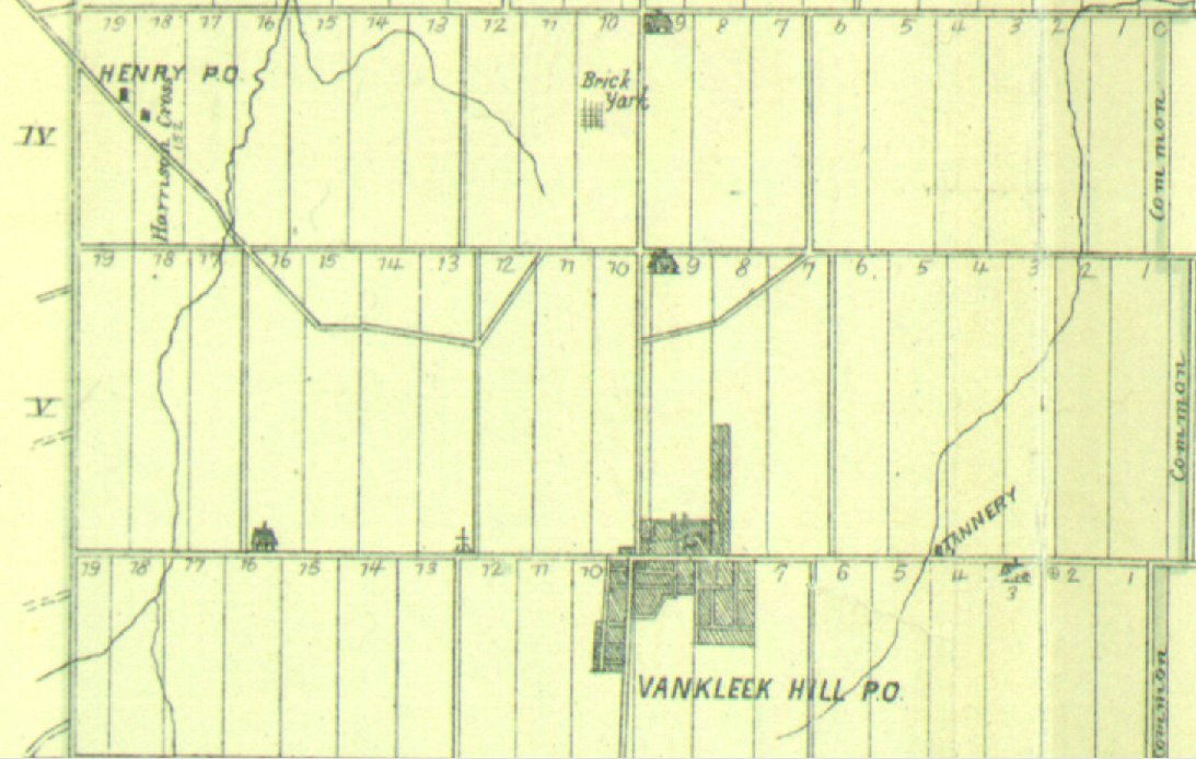 Map showing Vankleek Hill Village in 1881, West Hawkesbury Township, Ontario, Canada