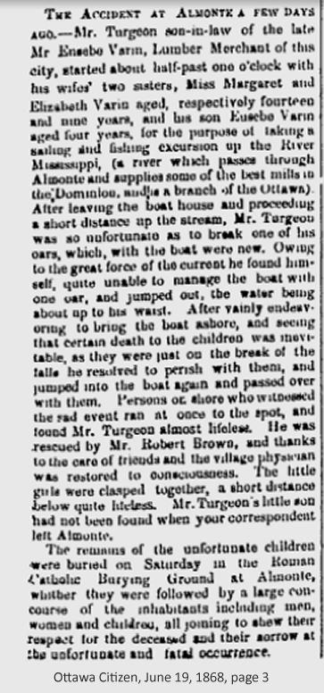 Varin - Turgeon family drowning in Almonte, Ontario, Canada in 1868