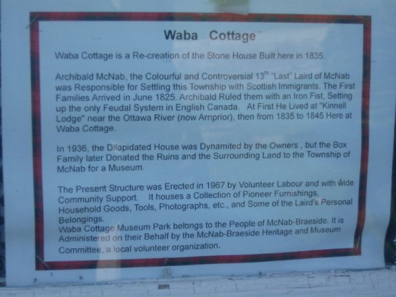Waba Cottage Sign- Home of the Laird of McNab, Ontario, Canada