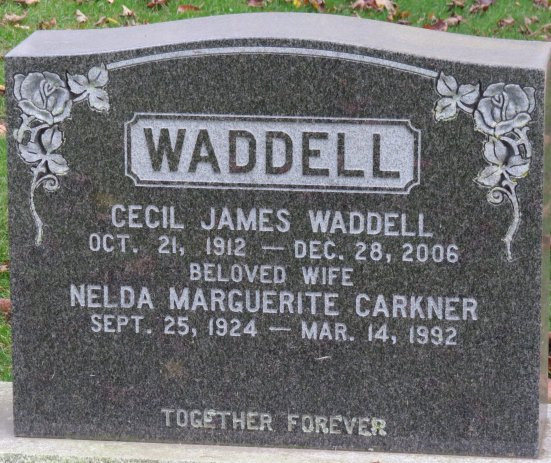 Waddell and Carkner Tombstone, Springhill Cemetery, Vernon, Ontario (Ottawa)