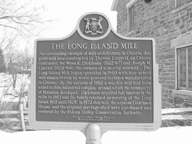 Plaque at Watson's Mill, Manotick, Ontario, Canada