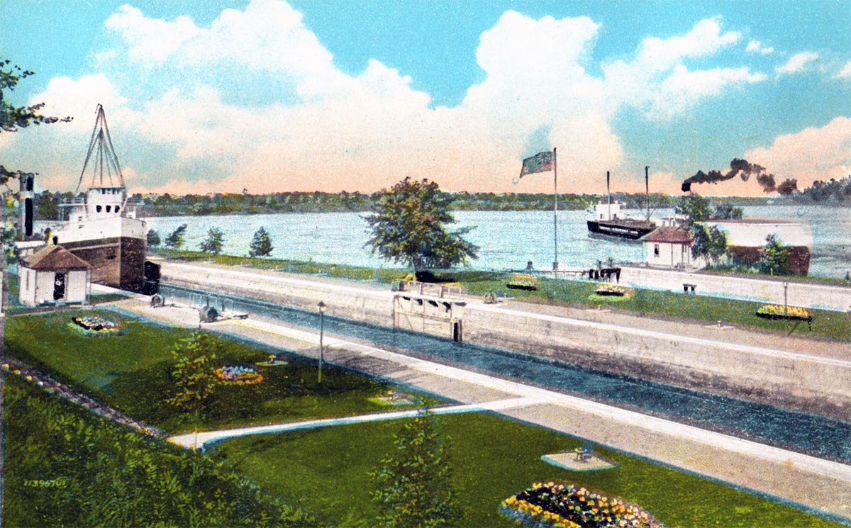 Ship passing through the Williamsburg, Ontario, Canal system before the St. Lawrence Seaway